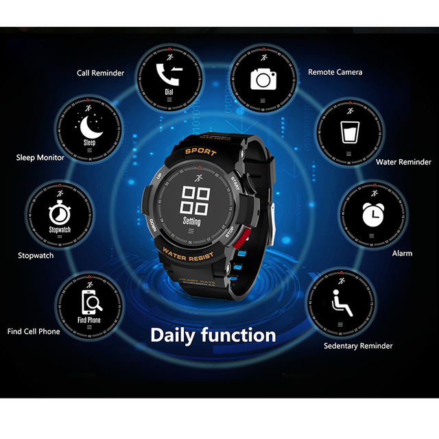 2019 NEW No.1 F6 Smartwatch IP68 Waterproof Bluetooth 4.0 Dynamic Heart Rate Monitor Smart watch For Android Apple Smart Phone