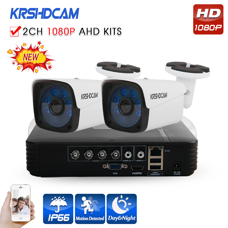 KRSHDCAM 4CH AHD DVR Security CCTV System 30M IR 2PCS 1080P CCTV Camera Outdoor Waterproof Camera Home Video Surveillance Kit 4ch cctv system 1080p hdmi ahd 4ch cctv dvr 4pcs 1 3 mp ir outdoor security camera 960p waterproof camera surveillance system