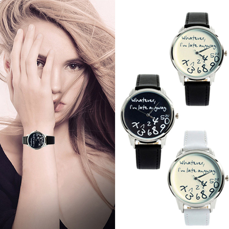 New GENEVA Fashion Funny Women Men Analog Quartz Watch Whatever,I''m Late Anyway Ladies Dress Wrist Watch Clock Montre Femme