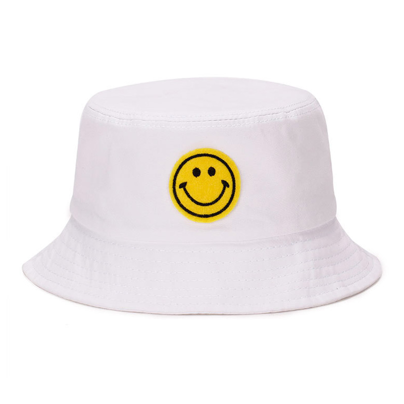 48720a2750d White Summer Women Mens Panama Bucket Hat Smile Face Design Flat Sun  Fishing Fisherman Bob Hat Hip Hop Cap
