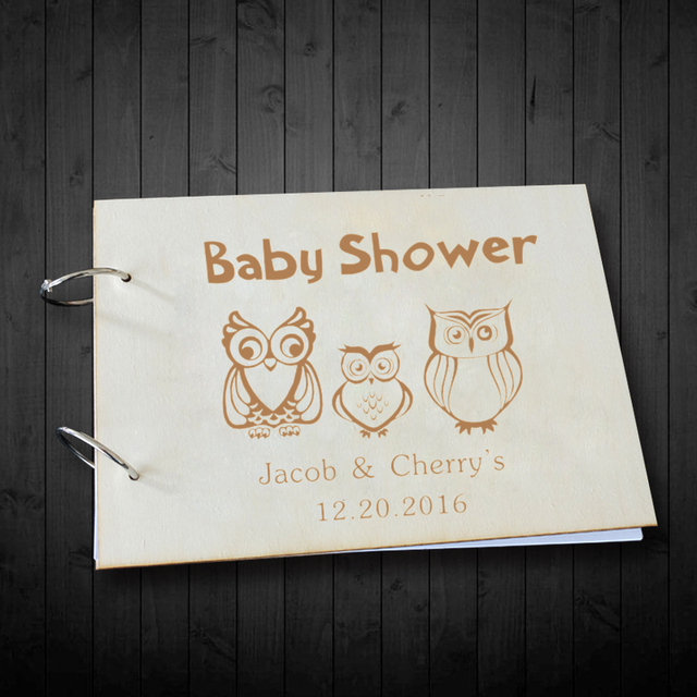 Creative Wooden Guest Book For Baby Shower Custom Owl Design For