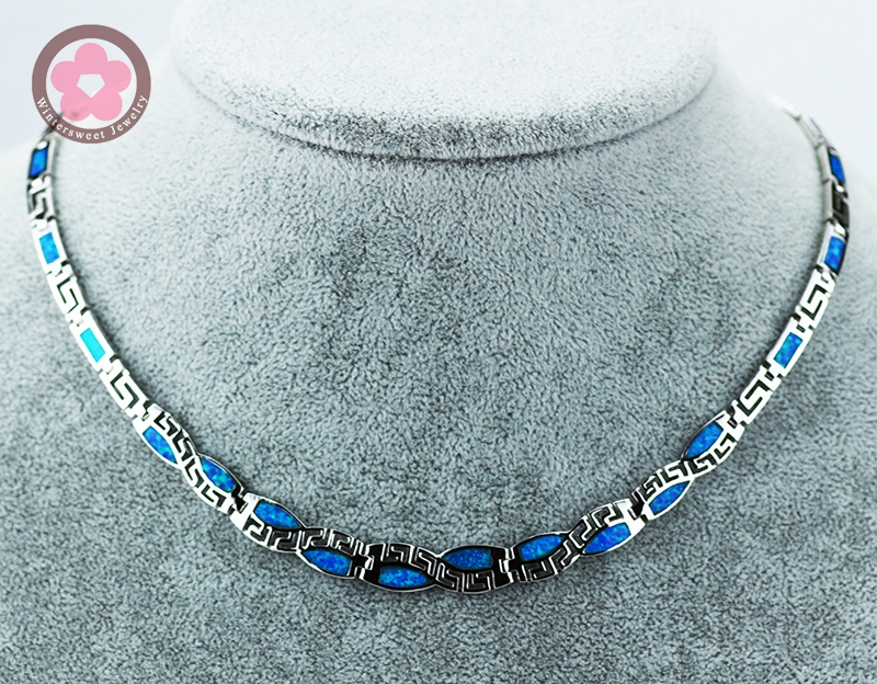JZN0011Hot Sale Blue Opal Necklace New Trendy Jewelry for Women Top Quality Chain Necklace Christmas Gift vintage faux opal floral necklace jewelry for women