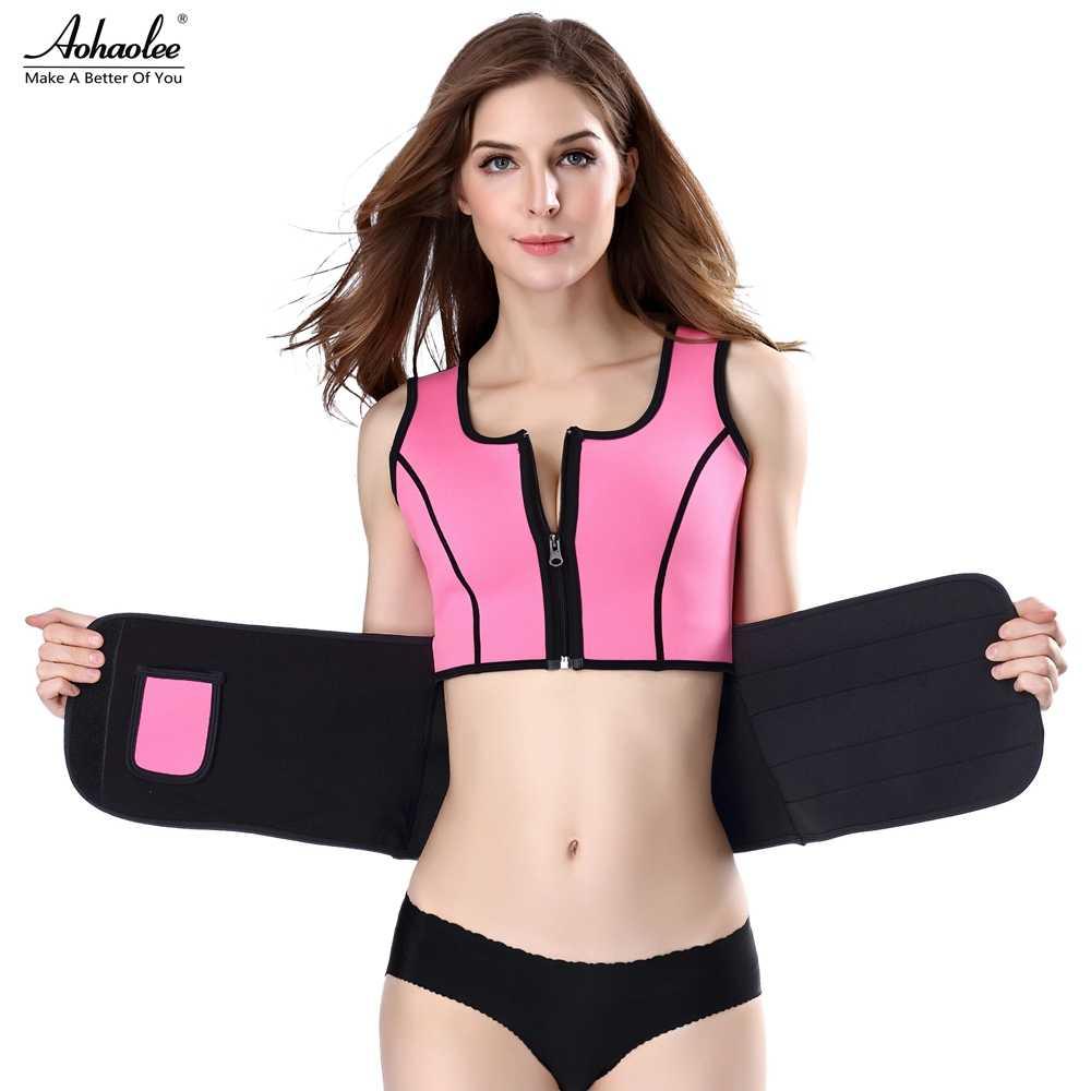 Aohaolee неопреновый корсаж с эффектом сауны тренировочный жилет Горячий формирователь Лето тренировки обтягивающий, утягивающий регулируемый пояс для пота Fajas Body Shaper