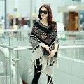 2016 New Hot Sale Fashion Autumn Winter Women Oversized Wool Pullovers Sweaters Bat Sleeve shawl poncho B720