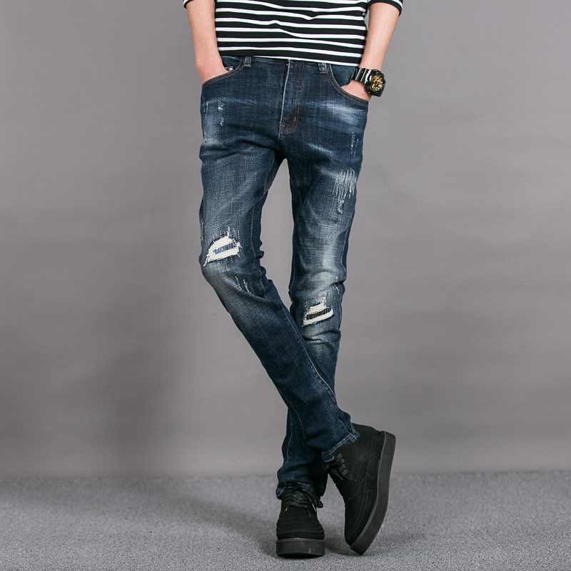 2017 European American Style fashion brand men jeans luxury Men's denim trousers Slim Straight pop blue gentleman jeans for men
