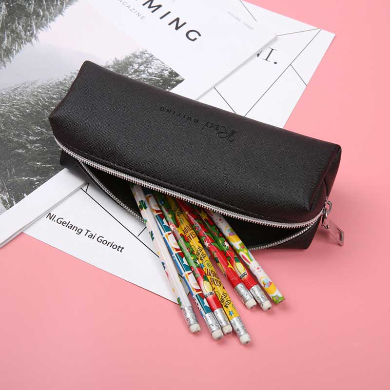 Simple Black Leather Pencil Case High Capacity Business Pencilcase For Kids School Office Gift Supplies Creative Stationery image