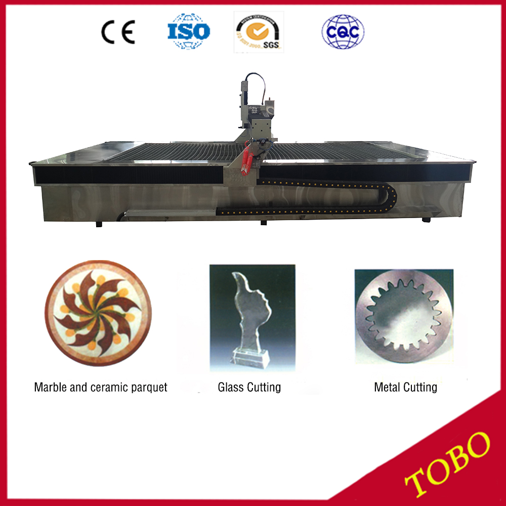 Abrasive Water Jet Machining Process Cutting Stone With Water High Pressure Pumps For Water Jet