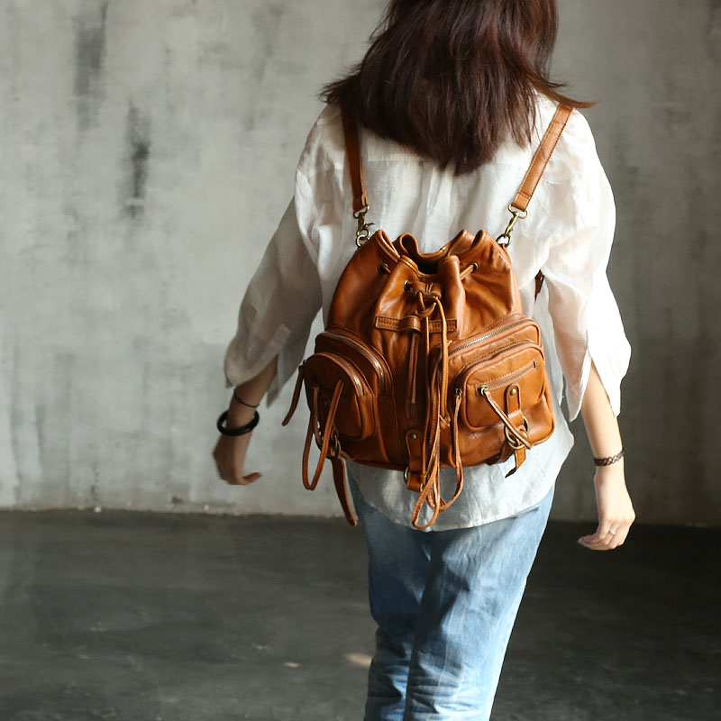 Vendange New fashion women's  Multifunction Vintage handmade genuine sheepskin  shoulder bag / causal knapsack2105 vendange original handmade simple leisure female genuine cowleather knapsack multifunctional knapsack2305