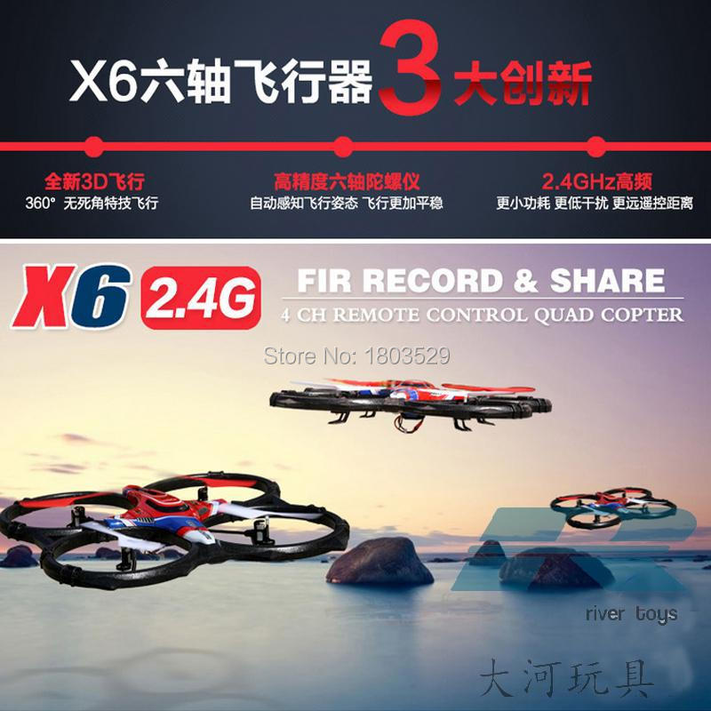 Vente chaude Nouveau X6 RC Quadcopter Télécommande Hélicoptère et avion modèle 4CH Roulant Quadrocopter UFO Soucoupe Grand Drone