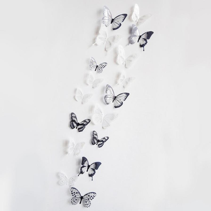 36 Pcs 3D Black White Butterfly Wall Stickers Art Wall Decal Mural Home Decoration Living Room Kids Safty Bedroom