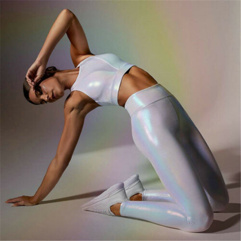 Women's Reflective Pants Dance Fitness Workout Gym Long Pants Fashion High Waist Leggings 2019 Ladies Trousers Casual Clothes