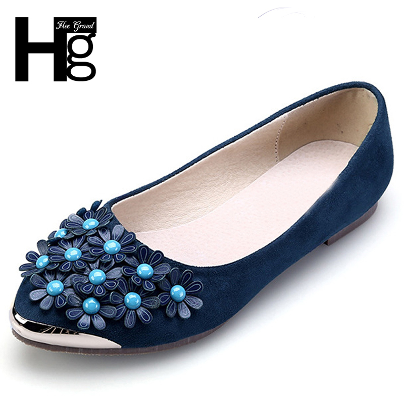 HEE GRAND Flower Women's Ballet Flats 2018 New Fashion Pointed Toe Causal Flat Shoes Woman 4 Colors Plus Size 35-43 XWD6568 new 2017 spring summer women shoes pointed toe high quality brand fashion womens flats ladies plus size 41 sweet flock t179