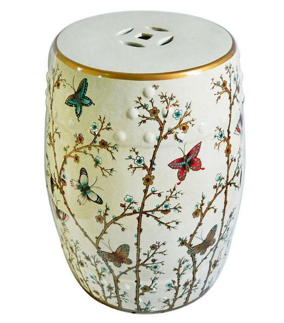 Butterfly Painting Indoor Chinese Ceramic Stool Home
