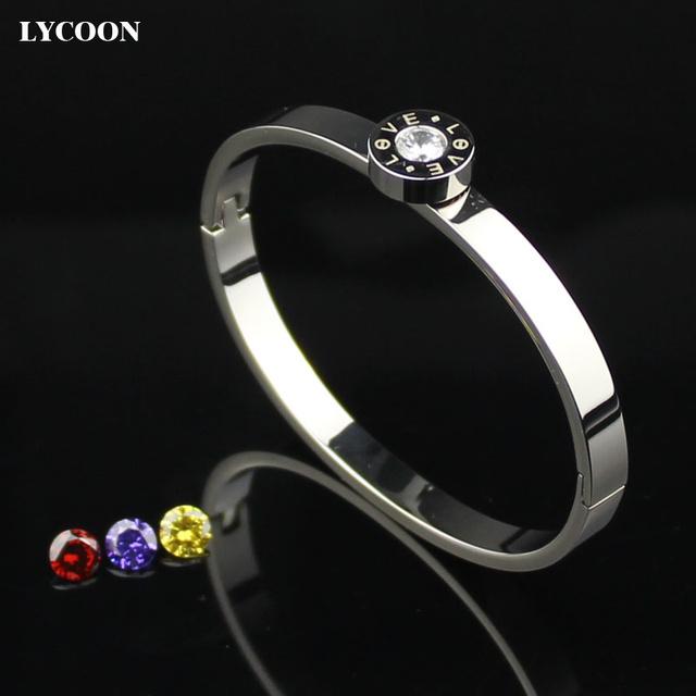 LYCOON Moda bracelete de cristal redondo amarelo banhado a ouro pulseira de aço inoxidável bangle cuff pulseiras para mulheres YYSE102
