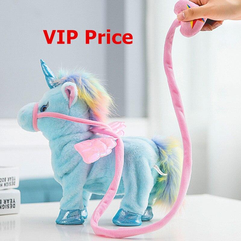 VIP precio 35 cm unicornio eléctrico de peluche de felpa de juguete Animal de peluche de música electrónica unicornio de juguete para niños regalos de navidad