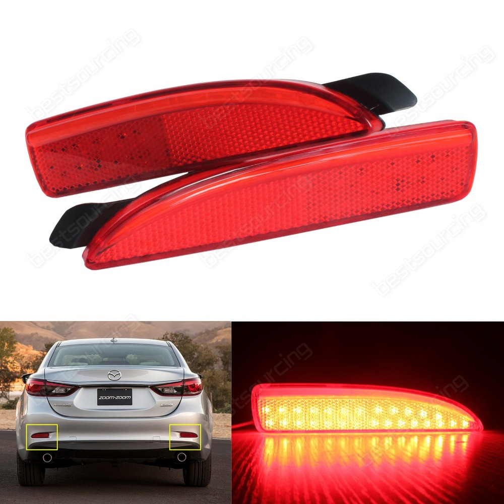 Mazda 6 Atenza 2013+ Mazda3 4D Red Rear Bumper Reflector LED Tail Stop Light DRL(CA240)