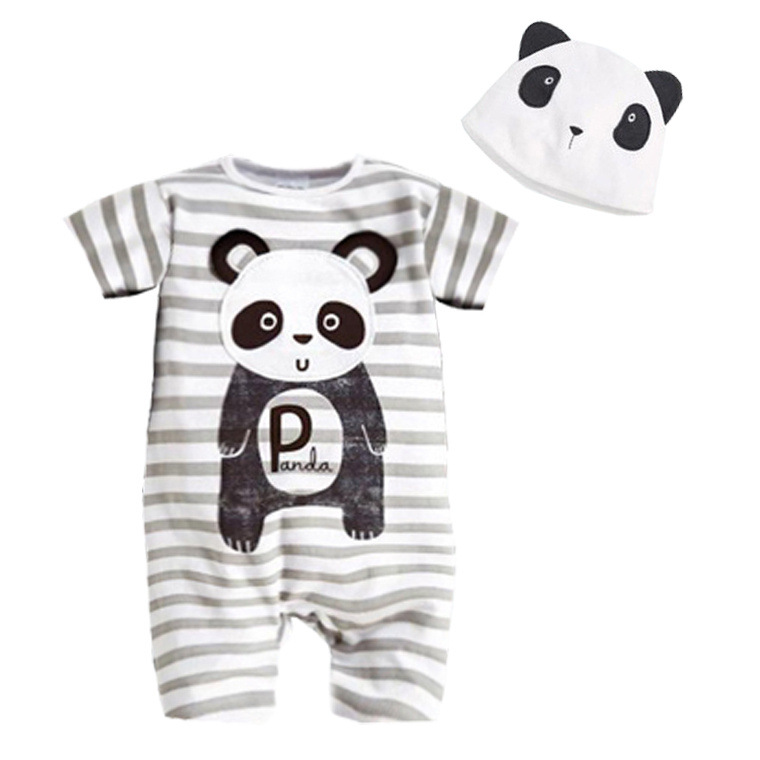Newborn Baby Clothes Animal Style Infant   Romper  +Hat Baby Girls Clothing Set Cotton Tollder Kids Costume Panda Baby Boy   Rompers