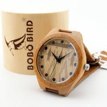 Любовника Luxulry Бренд Дизайнер японский miyota 2035 движение наручные часы натуральная кожа бамбук деревянные часы с деревянной случае