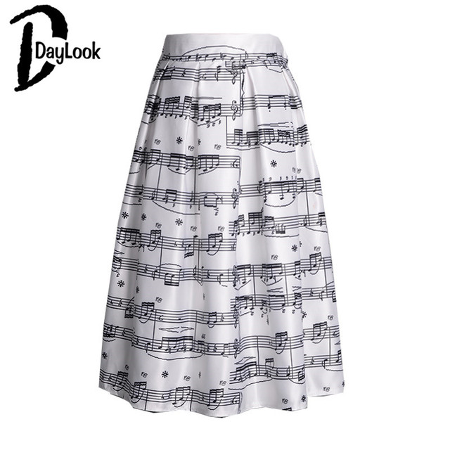 DayLook 2016 Summer Style Musicalnote Print High Waist Pleated Skirt Skater Midi A-line Skirt Women Fashion Elegant Vintage Saia