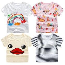 2018 летние футболки с коротким рукавом для мальчиков и девочек, футболка с мультяшным принтом, футболка в полоску, хлопковые топы для девочек...