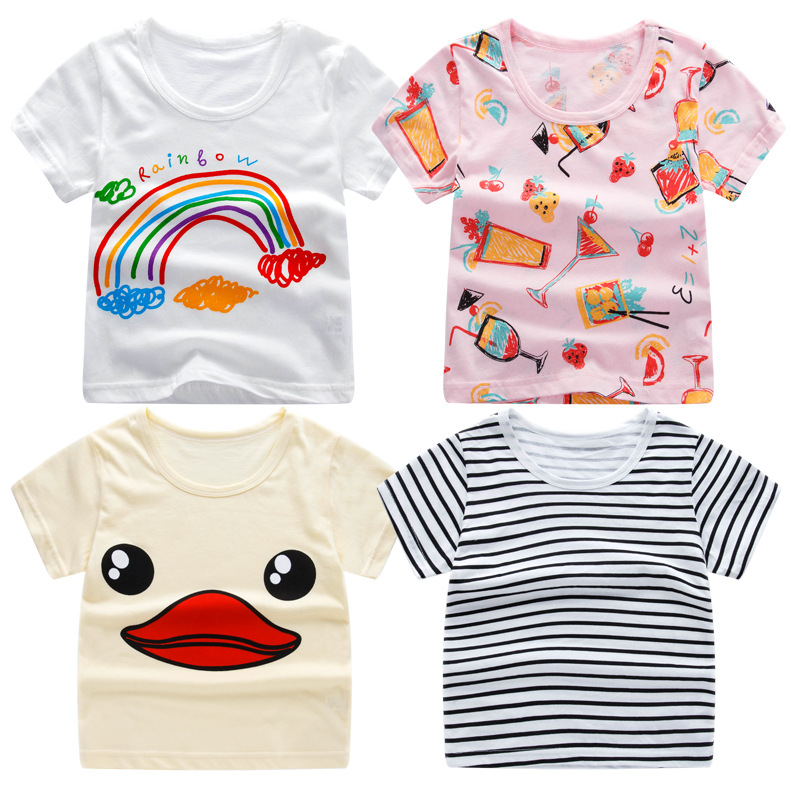 2018 Summer Girls & Boys Short Sleeve T Shirts Cartoon Print T-shirt Striped Tee Shirt Cotton Girls Tops For Kids Clothing peach print tee