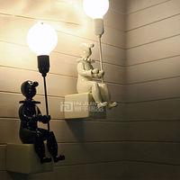 Nordic Resin Ceramics Children Bedroom LED Cartoon Clown Light Wall Lamp Decor Hall Loft Corridor