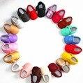 Marca de cuero de la pu borla de la franja del bebé mocasines zapatos niños niñas zapatos de bebé niños calzado inferior suave suela bebé niño 0-36 m