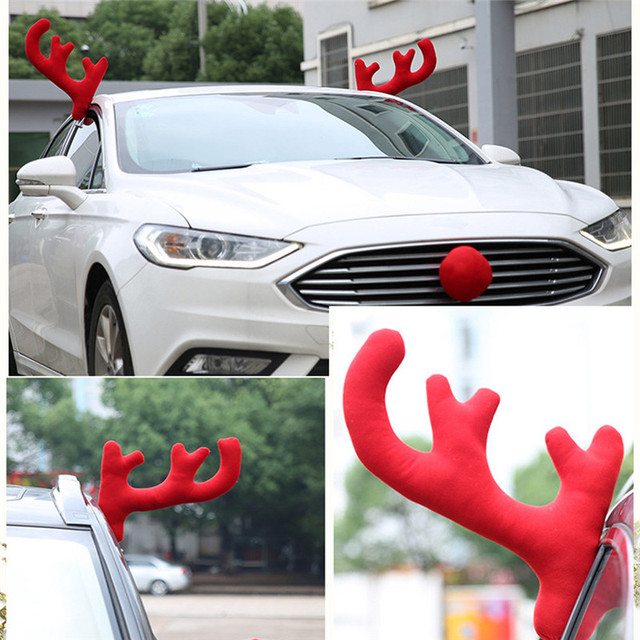 Nieuwe collectie kerst rendier gewei rode neus set voor for Rendier gewei decoratie