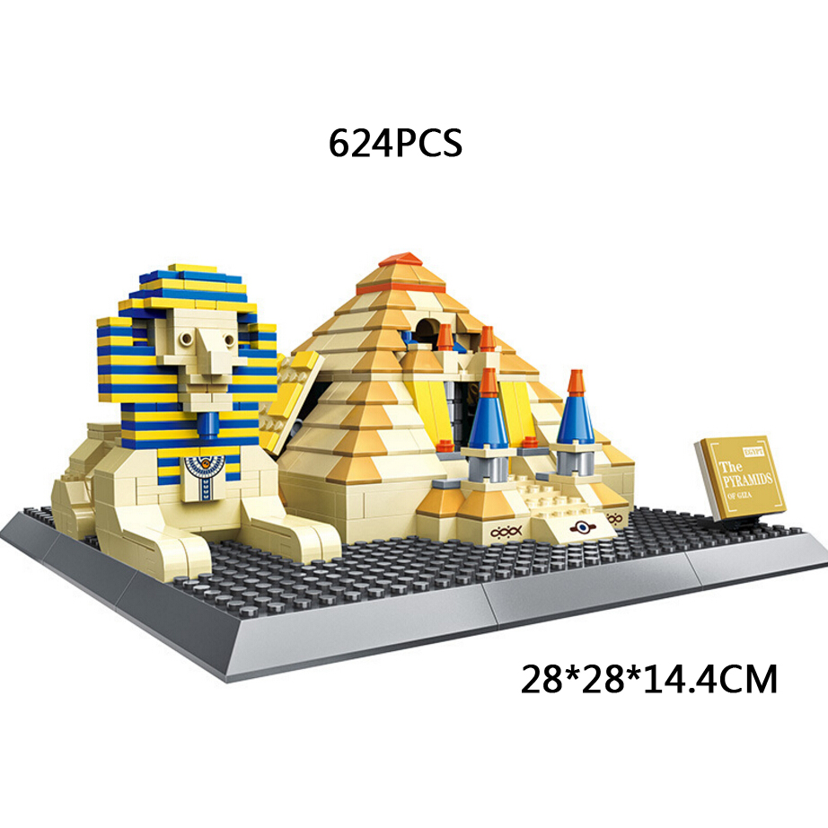где купить World famous historical Architecture Egypt Great Pyramid of Giza moc building block Pyramid of Khufu sphinx bricks model toys по лучшей цене