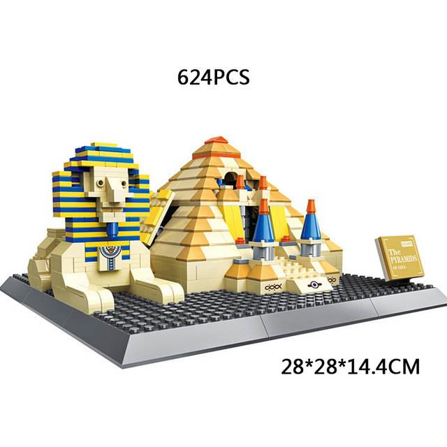 World famous historical Architecture Egypt Great Pyramid of Giza moc  building block Pyramid of Khufu sphinx bricks model toys