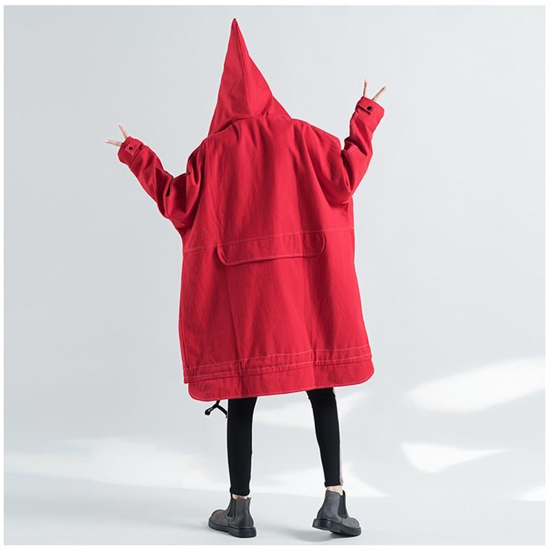Autumn Oversized Hooded Jacket Female Long Plus Size Windbreaker Harajuku Jacket Hip Hop Funny Women Coats And Jackets 1