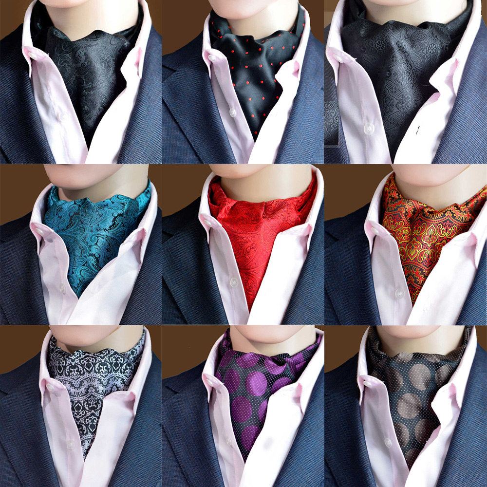 Men Business Necktie Paisley Jacquard Scarves Cravat Ascot Ties Party Wedding RSTIE0327