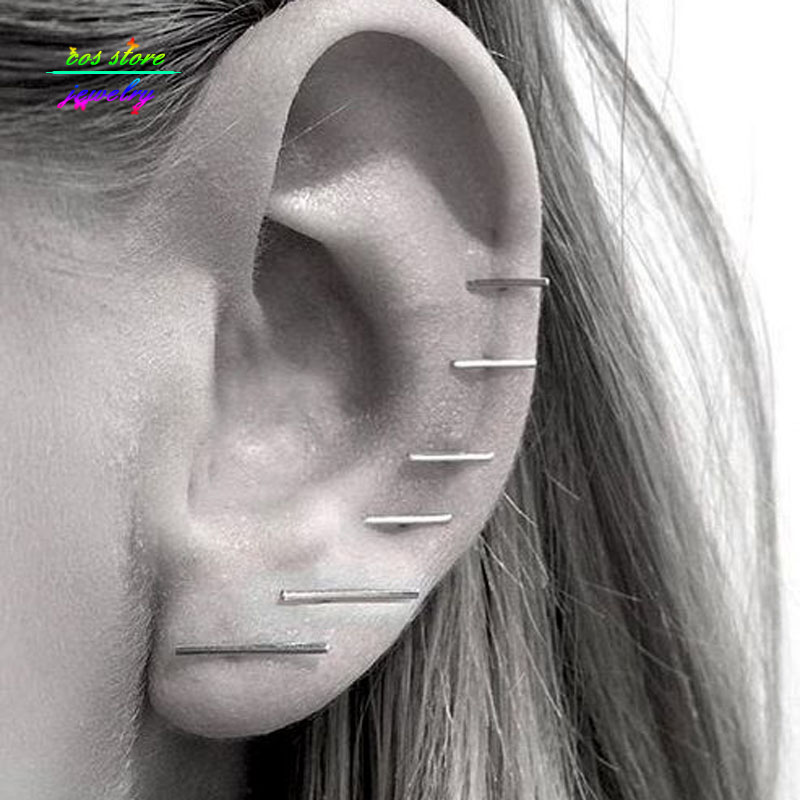 (3 Par / Set) New Minimalist Simple Gold / Silver / Black Plated Bar Stud Pendientes Para Mujeres Bijoux Boucle d'oreille Party Earings