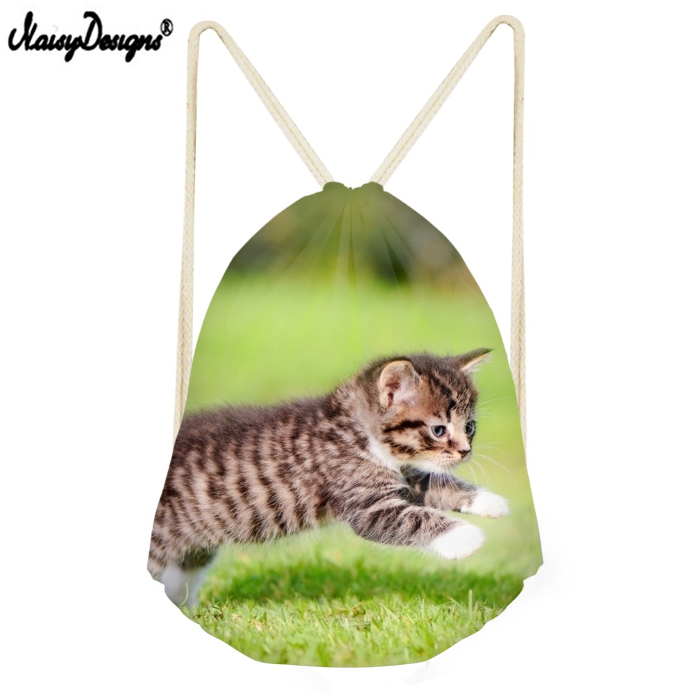 The New Small Drawstring Bag Women Custom Logo For Woman Girls Teen Drawstring Backpack 3D Cat Printing Bagback Off White Bag