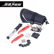 SAHOO 11 In 1 Portable Outdoor  Bicycle Repair Tool Set Kit with Saddle Bag Bike Mini Pump Tire Inflator Patch