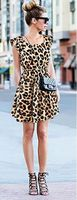 2017 fashion nieuwe sexy open cultiveren moraal show dunne luipaard graan grote werven vest dress gratis verzending