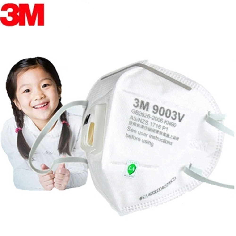 3M Mask 9003V Anti Fog Haze Dust Mask PM2.5 Industrial Dust Folded With Breathing Valve Children Men And Women jaisati pure cotton breathing valve ventilation dust masks anti dust activated carbon anti fog haze pm2 5 mask