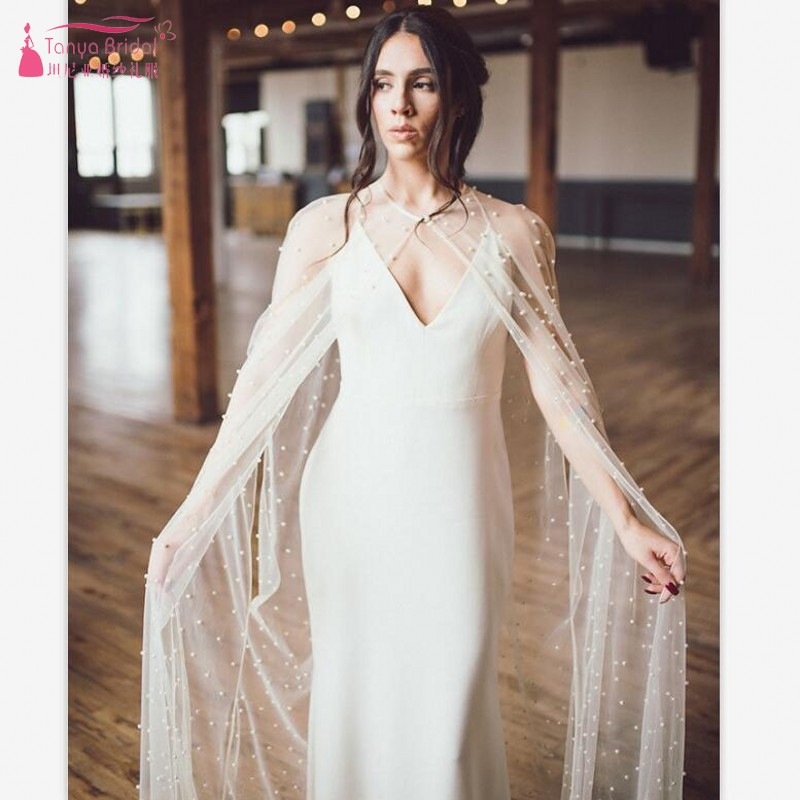 2019 New Pearls Bridal Dress Wraps Tulle Cape Wedding Wraps White/Lvory Wedding Jacket Cloak JQ526