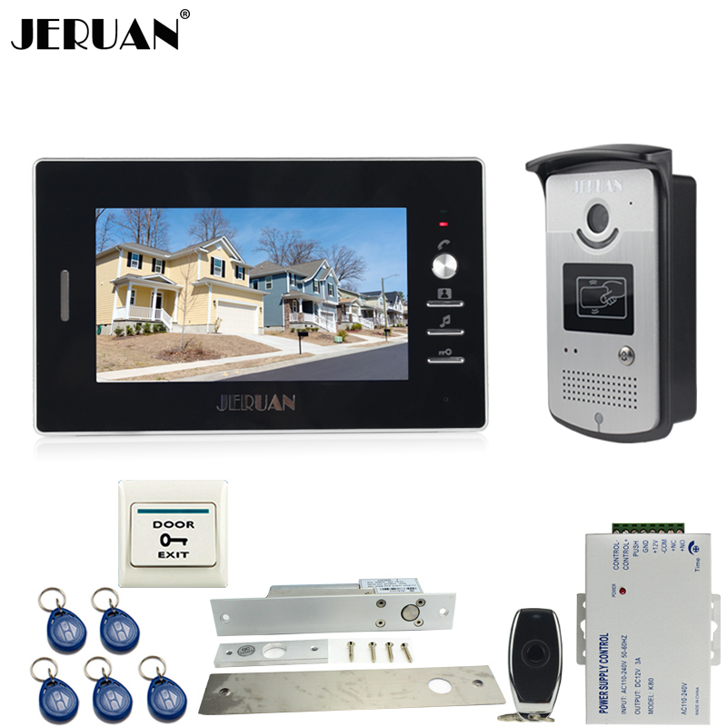 JERUAN Wired 7`` TFT color video door phone Entry intercom system kit waterproof 700TVL RFID Access IR Night Vision COMS Camera