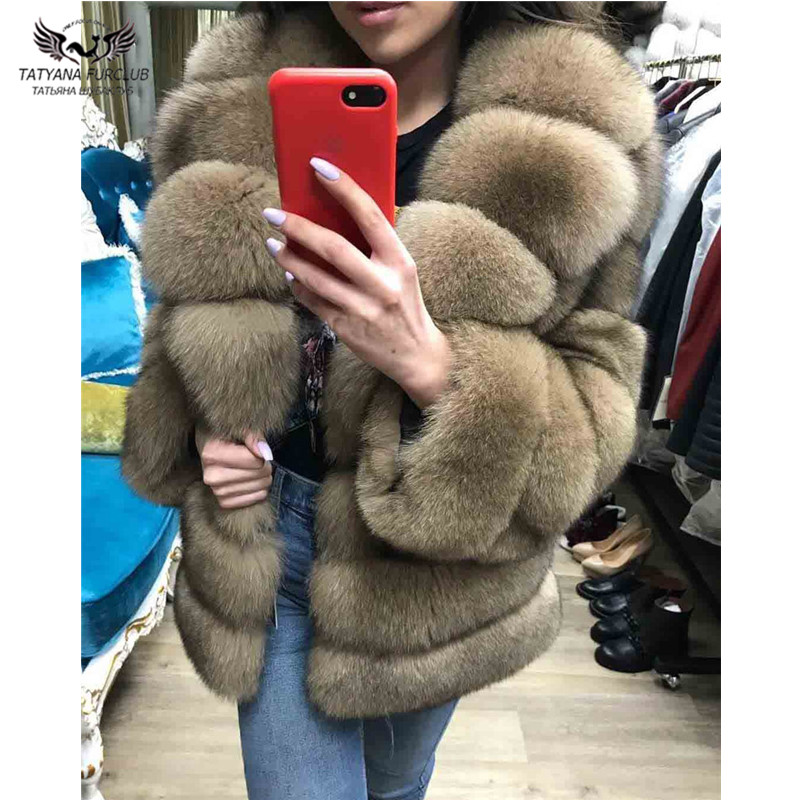 Tatyana Furclub 2018 Real Fox Fur Coat Women Fur Jacket Winter Real Fox Fur Collar Warm Top Short Casual Outerwear Solid Fashion