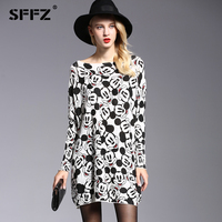 SFFZ 2018 New Autumn Women Loose Dress Sweaters Mickey Printed Cartoon Pattern Knitting Batwing Sleeves Oversized Pullover 6124