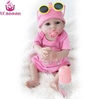 UCanaan 50CM Soft Silicone Doll Reborn Baby New Born Toys Blue Brown Eyes Handmade Full Vinyl Baby Alive Lifelike Dolls Bonecas