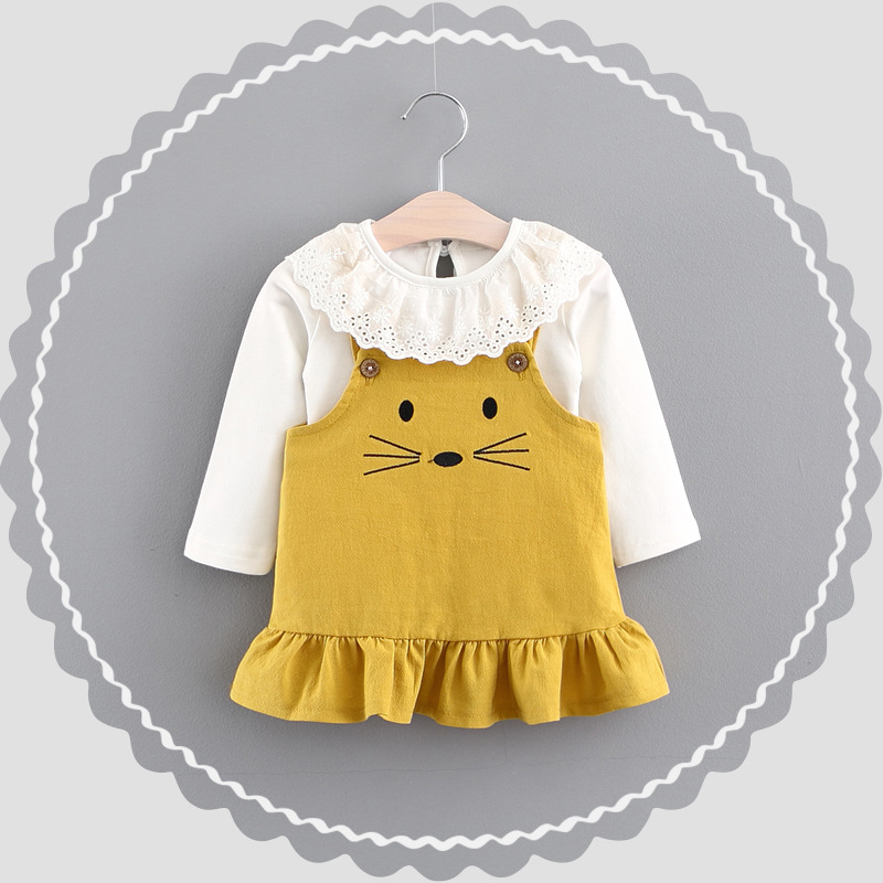The new spring 2018 girls lace collar female mice two-piece dress baby pleated braces