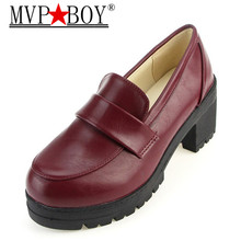 MVP BOY NEW Thick with round head Students shoes Japanese school uniforms institute style COS joker universal