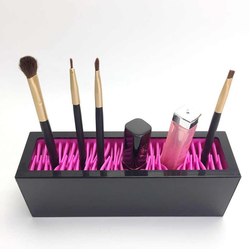 Силиконовый органайзер для макияжа, коробка для хранения кистей, косметическая вставка, подставка для губной помады, витрина, инструменты, ювелирный держатель для дома