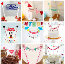 1pc Multi shape Cupcake Cake Topper Cartoon Cake Flags With Paper Straw For Wedding Birthday Party