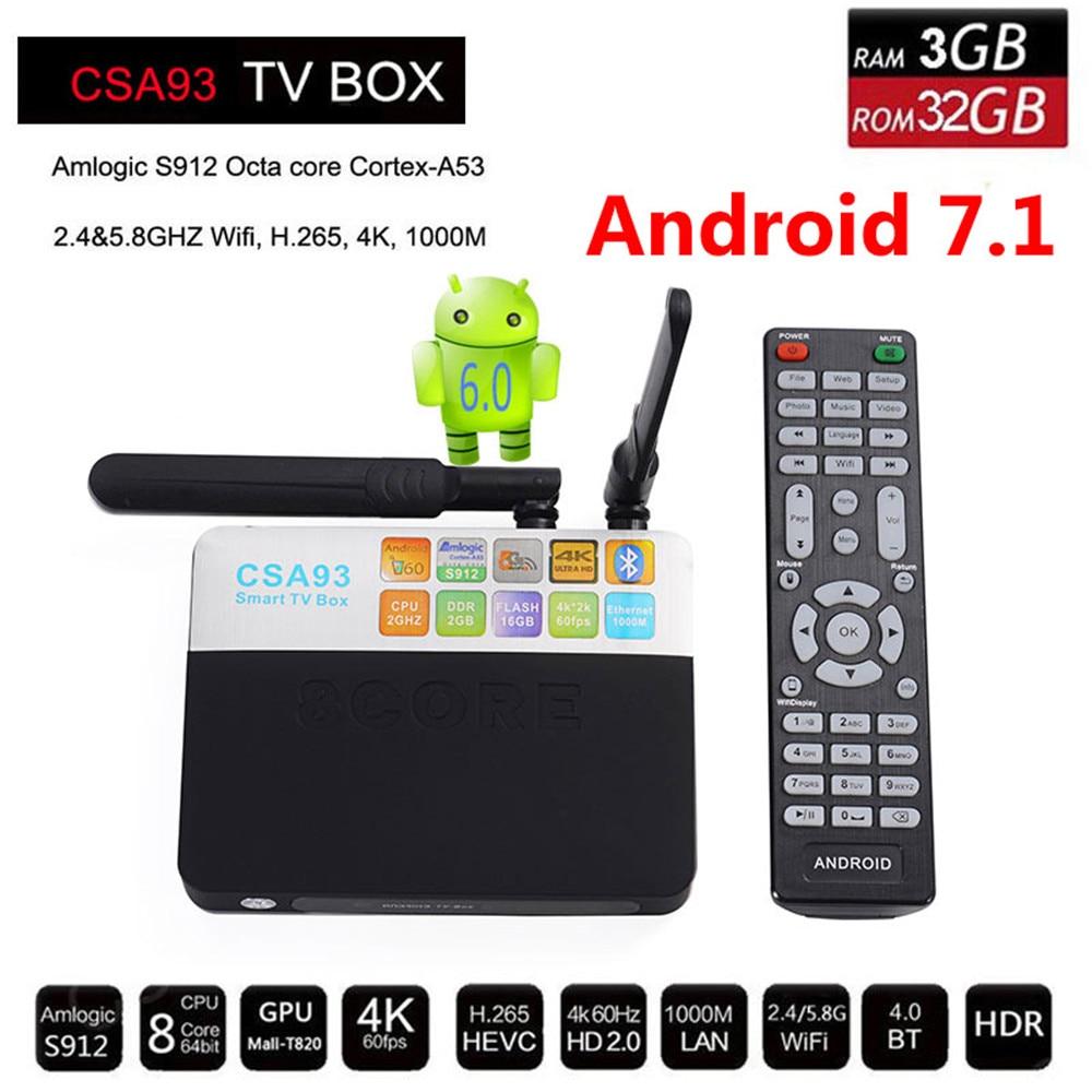 Android 7.1 TV Box CSA93 Amlogic S912 Octa Core 2GB/16GB 3GB/32GB CSA93 Smart TV BOX Streaming Dual Wifi BT4.0 4K Media Player