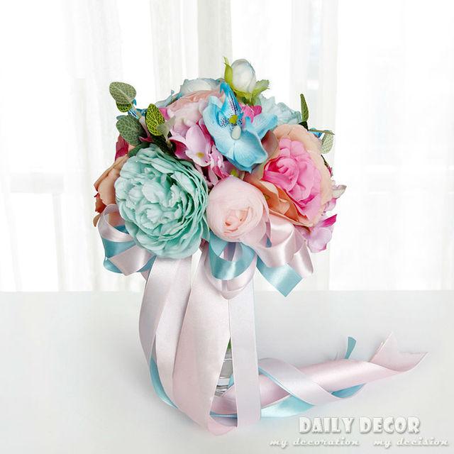 Rosa Blau Kunstliche Seide Blume Hochzeit Bouquet Braut Braut
