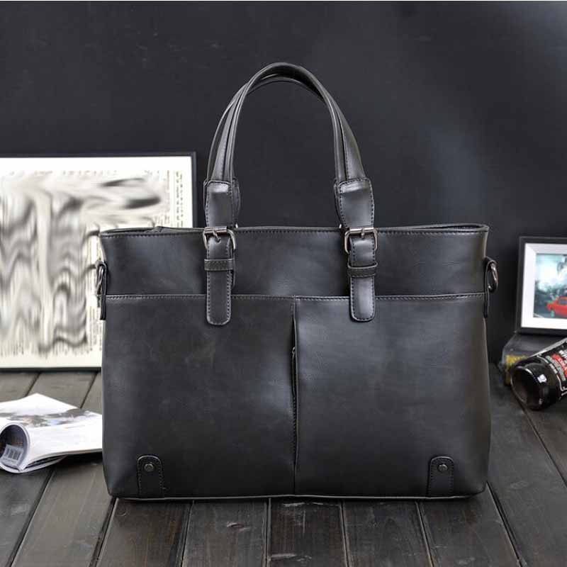 Men s business PU leather handbag briefcase famous brand sacoche homme messenger bags laptop tote bag