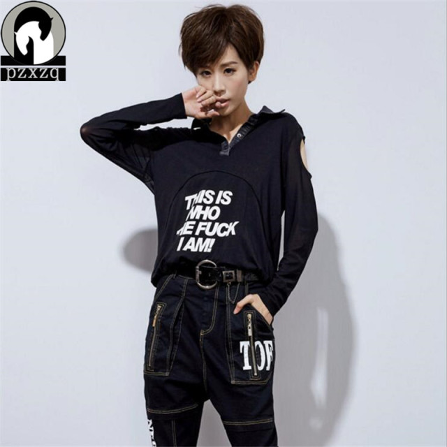 Black 2016 Brand Harajuku New Winter Woman Long Sleeved T-shirt Lapel Sexy Strapless Tshirt Women Black Women Tops Letter Stamp